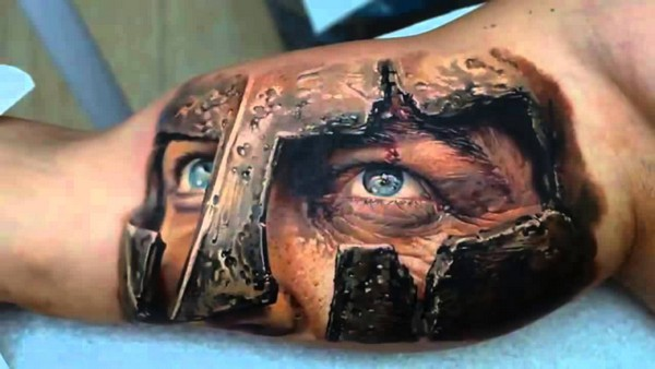 Gladiator eyes 3D tattoo